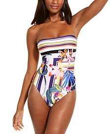 Strapless Floral Print One-Piece Swimsuit