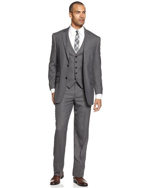 Perry Ellis Portfolio Suit Comfort Stretch Grey Sharkskin Vested