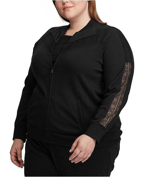 Lauren Ralph Lauren Plus Size Lace-Trim Fleece Jacket