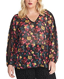 Trendy Plus Size Eve Floral-Print Top