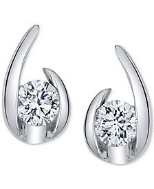 Diamond Curve Stud Earrings (1/5 ct. t.w.) in 14k White Gold