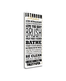 """Bathroom Rules - White by Jim Baldwin Giclee Print on Gallery Wrap Canvas, 13"""" x 29"""""""