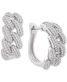 "Diamond Chain Link Detail Small Hoop Earrings (1 ct. t.w.) in Sterling Silver, .79"", Created for Macy's"