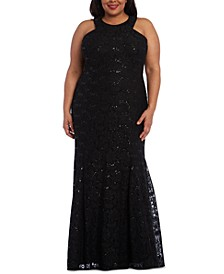 Trendy Plus Size Allover-Lace Gown