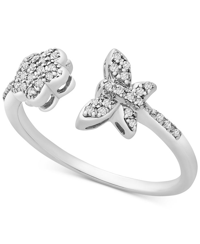 Wrapped - Diamond Butterfly & Flower Statement Ring (1/8 ct. t.w.) in 14k White Gold