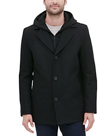 Men's Single Breasted Overcoat with Zip-Out Hood