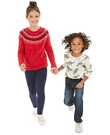 Big Girls Fair Isle Sweater & Leggings & Toddler & Little Boys Dino T-Shirt & Jeans, Created For Macy's