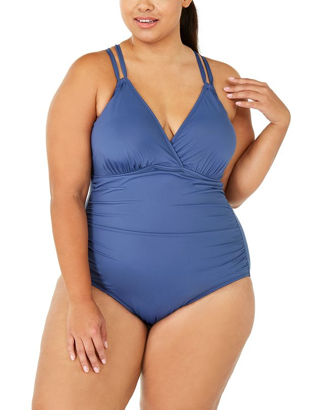 La Blanca Plus Size Island Goddess Underwire Cross-Back One-Piece Swimsuit