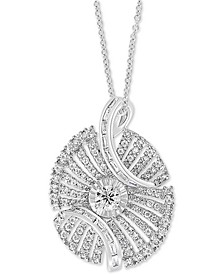 "EFFY® Diamond Swirl 18"" Pendant Necklace (1-7/8 ct. t.w.) in 14k White Gold"