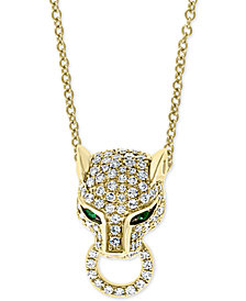 "EFFY® Diamond (3/8 ct. t.w.) & Emerald (1/20 ct. t.w.) Panther 18"" Pendant Necklace in 14k Gold"
