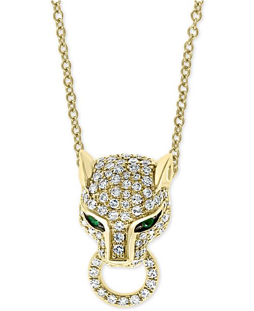 """EFFY Collection EFFY® Diamond (3/8 ct. t.w.) & Emerald (1/20 ct. t.w.) Panther 18"""" Pendant Necklace in 14k Gold"""