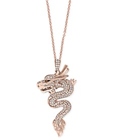 "EFFY® Diamond Dragon 18"" Pendant Necklace (3/4 ct. t.w.) in 14k Rose Gold"