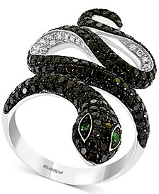 EFFY® Diamond (1-5/8 ct. t.w.) & Emerald Accent Snake Ring in 14k White Gold