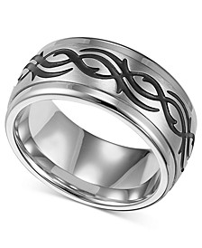 Men's Stainless Steel Ring, Black Design Wedding Band