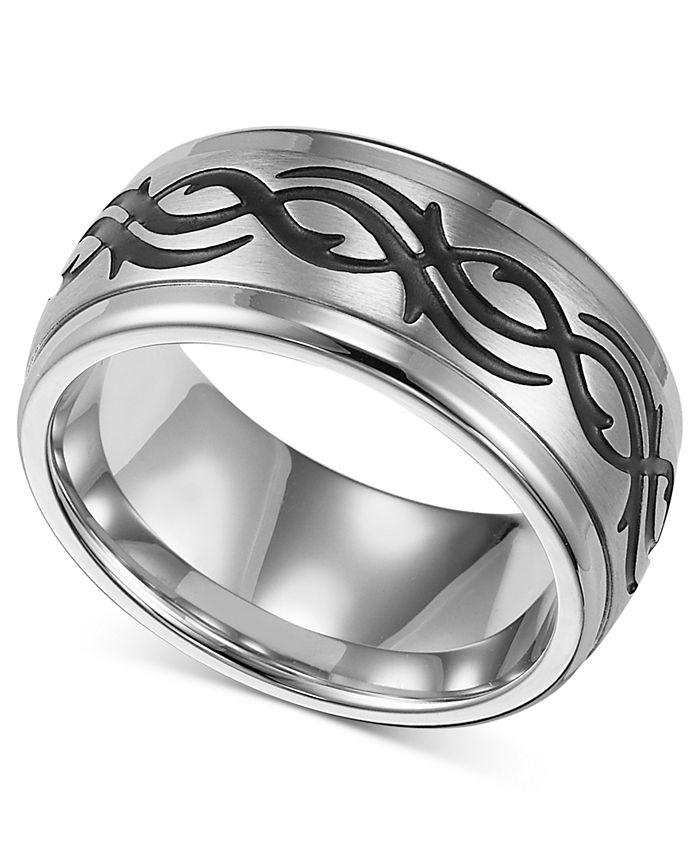 Triton - Men's Stainless Steel Ring, Black Design Wedding Band