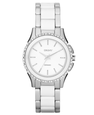 Dkny Watch, Women's White Ceramic and Stainless Steel Bracelet 32mm NY8818