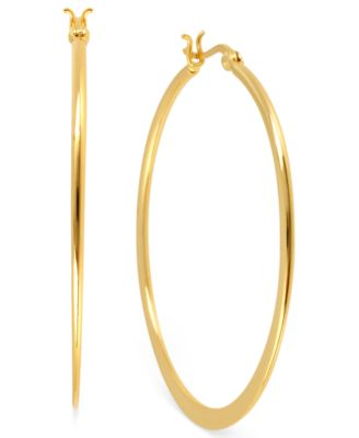 Image of Hint of Gold 14k Gold-Plated Brass Earrings, 40mm Hoop Earrings