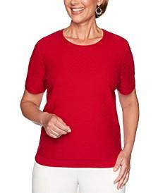 Petite Classics Textured Short-Sleeve Sweater