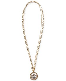 "Gold-Tone Crystal & Imitation Pearl Shaker 18"" Pendant Necklace"