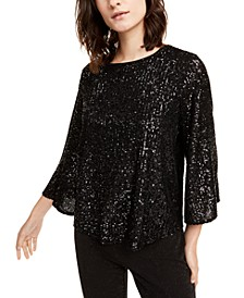 Sequined Bell-Sleeve Top, Created For Macy's