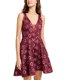 Juniors' Sequined Embroidery Mesh Dress