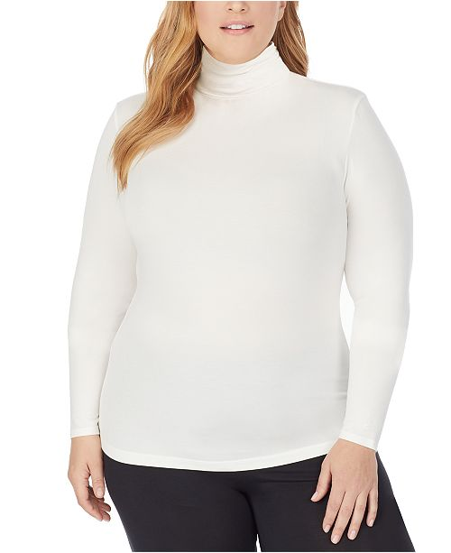 Cuddl Duds Plus Size Softwear With Stretch Long-Sleeve Turtleneck Top