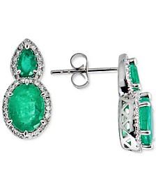 Emerald (3-1/2 ct. t.w.) & Diamond (1/3 ct. t.w.) Drop Earrings in 14k White Gold