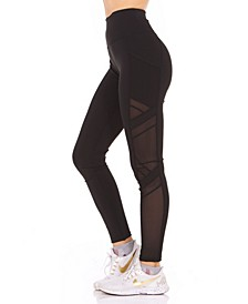 Side Pocket Mesh-Insert Leggings