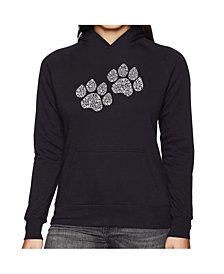 LA Pop Art Women's Word Art Hooded Sweatshirt -Woof Paw Prints