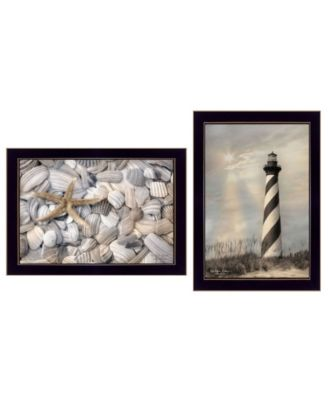 """Cape Hatteras Lighthouse and Sea Shells Collection By Lori Deiter, Printed Wall Art, Ready to hang, Black Frame, 20"""" x 14"""""""