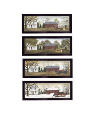 """Season's Collection 4-Piece Vignette by Billy Jacobs, Black Frame, 20"""" x 8"""""""