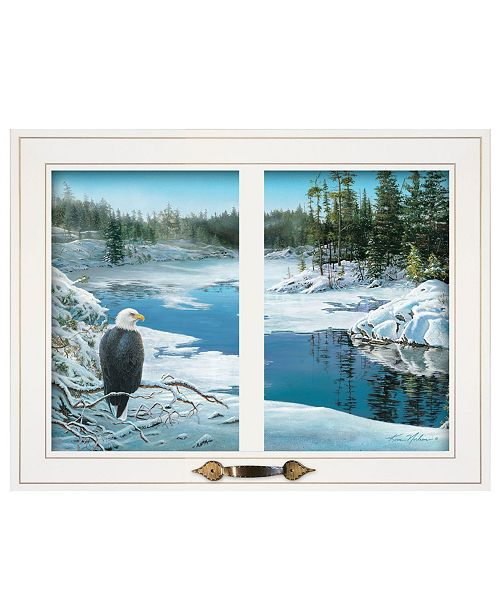 """Trendy Decor 4U Trendy Decor 4U The Lookout by Kim Norlien, Ready to hang Framed Print, White Window-Style Frame, 19"""" x 15"""""""