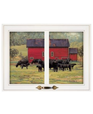 """By the Red Barn Herd of Angus by Bonnie Mohr, Ready to hang Framed Print, White Window-Style Frame, 19"""" x 15"""""""