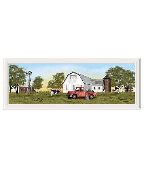 "Trendy Decor 4U Trendy Decor 4U Summer on the Farm by Billy Jacobs, Ready to hang Framed Print, White Frame, 39"" x 15"""