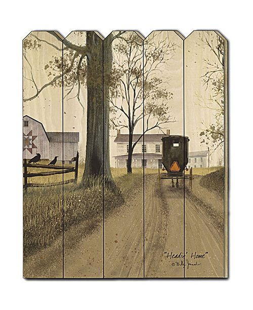 "Trendy Decor 4U Trendy Decor 4U Headin Home by Billy Jacobs, Printed Wall Art on a Wood Picket Fence, 16"" x 20"""
