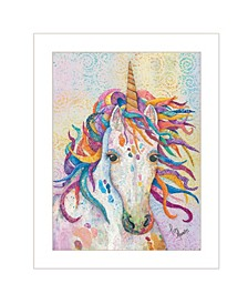 "Trendy Decor 4U Dazzle-Unicorn by Lisa Morales, Ready to hang Framed Print, White Frame, 15"" x 19"""