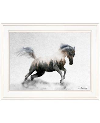"Running White Stallion by andreas Lie, Ready to hang Framed Print, White Frame, 19"" x 15"""