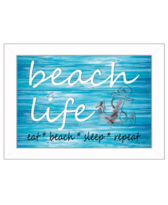 """Beach Life By Cindy Jacobs, Printed Wall Art, Ready to hang, White Frame, 14"""" x 10"""""""