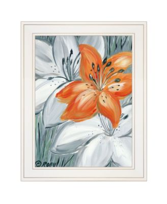"""Tiger Lily in Orange by Roey Ebert, Ready to hang Framed Print, White Frame, 15"""" x 19"""""""