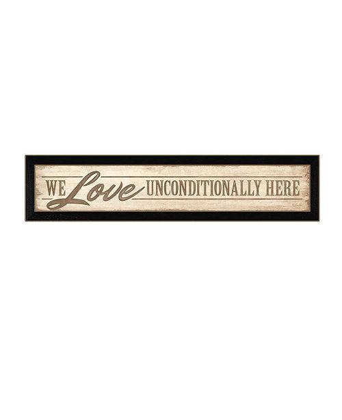 "Trendy Decor 4U Trendy Decor 4U Love Unconditionally By Lauren Rader, Printed Wall Art, Ready to hang, Black Frame, 38"" x 8"""