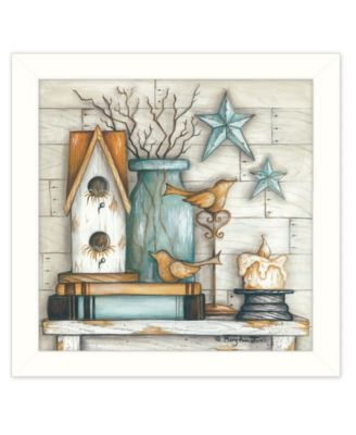 """Birdhouse on Books By Mary June, Printed Wall Art, Ready to hang, White Frame, 14"""" x 14"""""""