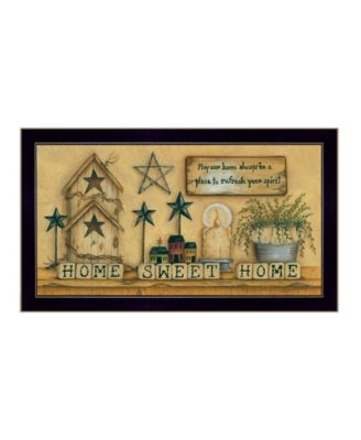 """Home Sweet Home By Mary June, Printed Wall Art, Ready to hang, Black Frame, 30"""" x 16"""""""