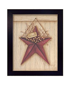 """Welcome Barn Star By Mary June, Printed Wall Art, Ready to hang, Black Frame, 16"""" x 13"""""""