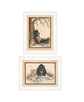 """Gone Fishing 2-Piece Vignette by Mary June, White Frame, 19"""" x 15"""""""