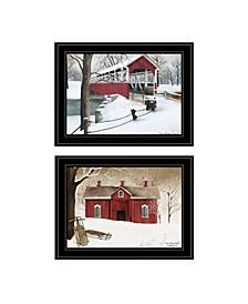 "Trendy Decor 4U Winter Evening 2-Piece Vignette by Billy Jacobs, Black Frame, 19"" x 15"""