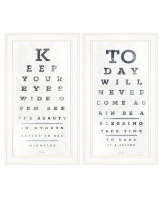 "Eye Charts 2-Piece Vignette by Marla Rae, White Frame, 15"" x 27"""