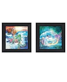 "Mermaids 2-Piece Vignette by Bluebird Barn, Black Frame, 15"" x 15"""
