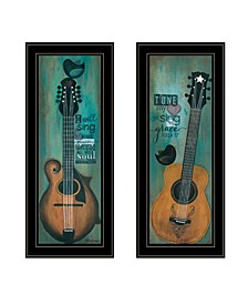 """Trendy Decor 4U Tune my Heart and I will Sing 2-Piece Vignette by Tonya Crawford, Black Frame, 9"""" x 21"""""""