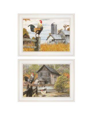 "Down on the Farm 2-Piece Vignette by Ed Wargo, White Frame, 15"" x 19"""