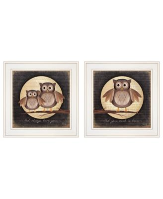 """Owl Always Love Need You 2-Piece Vignette by Marla Rae, White Frame, 15"""" x 15"""""""